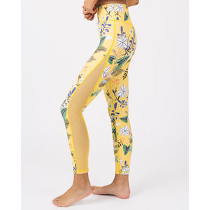 Zyia Leggings 4 Yellow Floral Light N Tight Mesh Full High Rise Workout